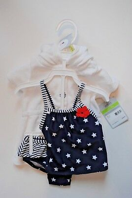NEW CARTER'S Stars and Stripes  2-Piece Bathing Suit Robe cover up 3M 3 Monthes