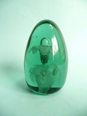 Victorian Green Glass Dump Paperweight with Flowers....................ref.1148