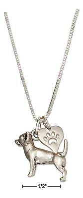 """Genuine .925 Sterling Silver 18"""" Chihuahua Necklace & Dog Paw Print Heart"""