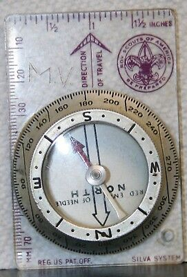 Vintage Boy Scouts Of America Bsa Silva System Compass To Map