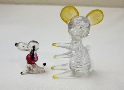 Lot of 2 Vintage Lucite Clear Plastic Animal Figures Hong Kong Mice, Dogs