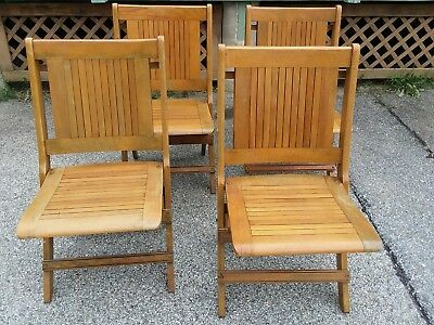 4 Vintage Folding Maple Chairs by the READSBORO CHAIR COMPANY of Vermont lot # 3