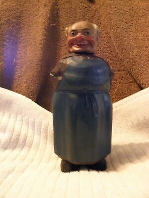 Unusual Vintage Handmade Wood Carved Monk Bottle 10""