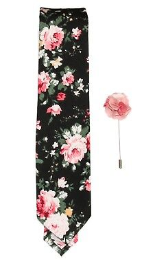 New Men's Black / Pink Floral Slim Tie and Pink / White Flower Lapel Stick Pin
