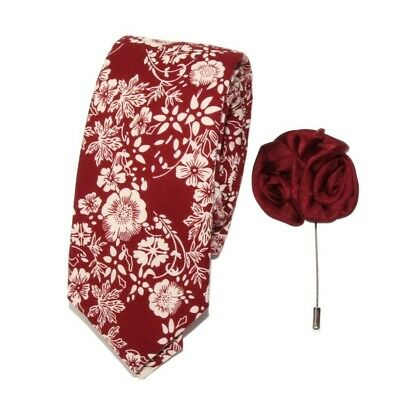 New Men's Crimson Red Floral Slim Tie and Floral Lapel Stick Pin