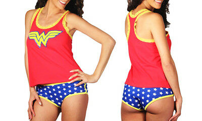 de8ce44d11 WONDER WOMAN 2 Piece Cami Panty Sleep Set Pajamas Lingerie Cosplay DC Comics