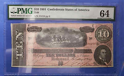 1864 T-68 Confederate States of America PMG 64 Choice Uncirculated