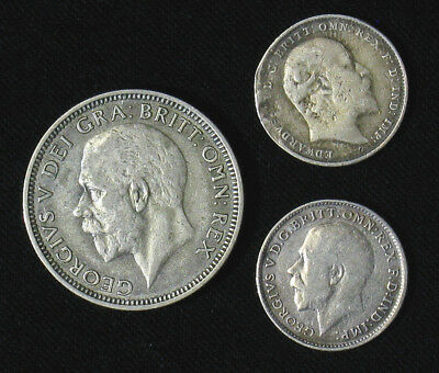 Lot of 3 Great Britain 3 Pence, Shilling silver coins 1910, 1914, 1936