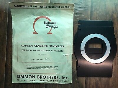 Simmon Bro Omega Rapid-Shift Glassless Filmholder Negative Carrier Enlarger 35mm