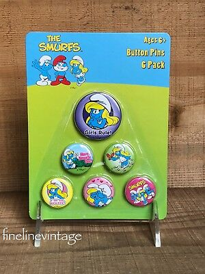 Smurfs Smurfette Button Pins 6 pack Girls Rule***New sealed on card