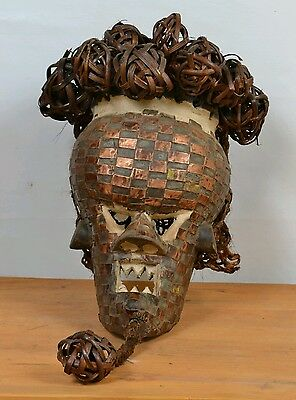 AfricanTribal Art,Vintage,Salampasu Warrior Mask,Copper Plated from,DRC.