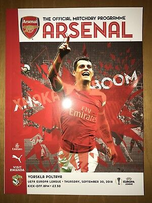 Arsenal v FC Vorskla Poltava Programme 20th September 2018
