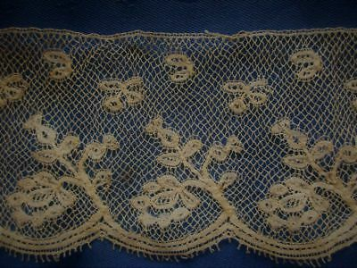 """ANTIQUE LENGTH OF HAND MADE VALENCIENNES EDGING LACE~42"""" x 3 3/4"""""""