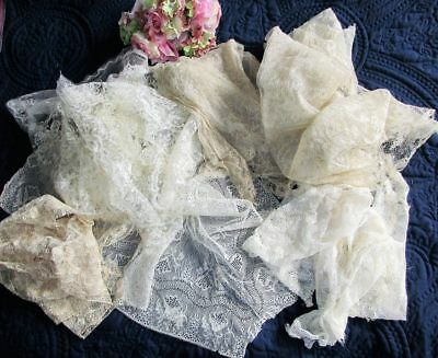 Large Antique Lot Of Fine Cotton Lace Pieces~Some Hm~Blonde~Needlerun~Cutters~Af