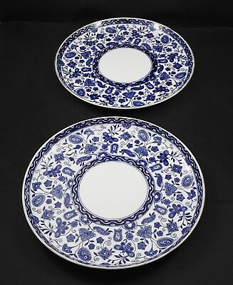 "Vintage Pair of Royal Crown Derby Blue & White 9"" Plate England"