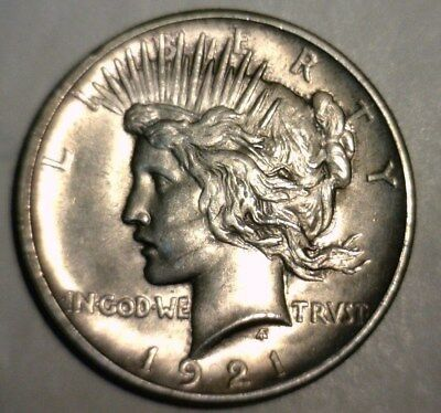 "1921  Silver Peace Dollar ""key Date"" Uncirculated  Nice Looking Coin!!"