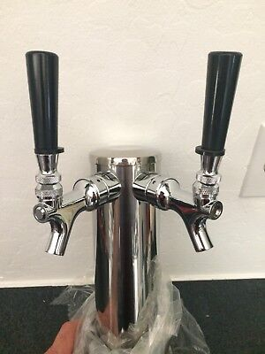 Double 2 Tap Stainless Draft Beer Tower Kegerator Dual Chrome Faucet