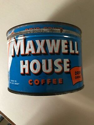 Mid Century Vintage Key Wind Maxwell House Coffee Can with Lid
