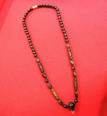 Thai Rosewood Handmade Necklace Amulet Hook Pendant Rare Collectible 8mm. 26""