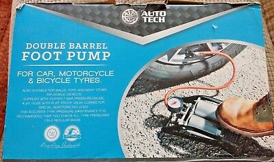 Auto Tech Double Barrel Foot Pump For Car /motorcycle Bicycle Tyres