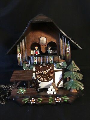 River City One Day Wood Musical Cuckoo Cottage Clock w Dancers & Waterwheel NIB