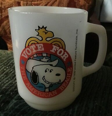 1958 SNOOPY Vote for The American Beagle White Mug ~ 1980 Collectors Series No.