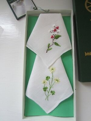 Fingal Irish Linen Handkerchiefs New In Box - 2 Lovely Floral Washable Linen