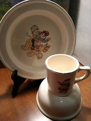 Vintage 1941 Crooksville Raggedy Ann and Andy dish set