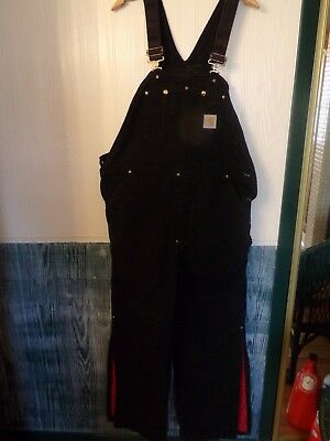 Pr. Black Carhartt Overalls Quilted With Red Lining Very Nice & Clean