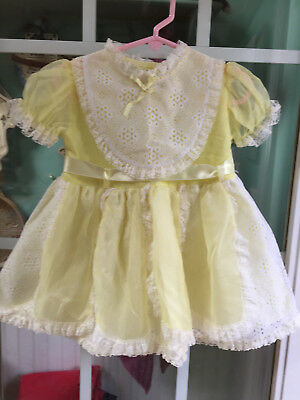 Vintage Toddler Girls Yellow Eyelet & Lace Trimed Layered Look Dress  Sz 4?