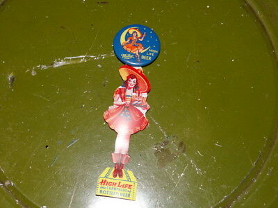 Vintage Miller High Life Beer Pinback old style with Girl