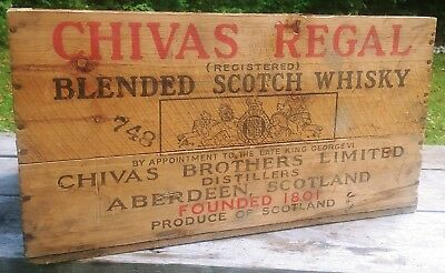 Vintage Chivas Regal Scotch Whiskey Wooden Box Crate Graves And Rogers