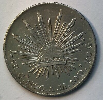 """MEXICO 1896 CnAm 8 Reales """"Cap and Rays"""" Silver Crown"""