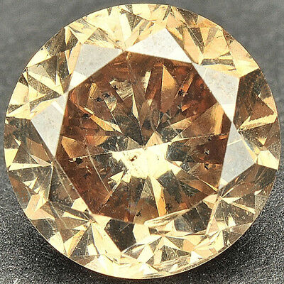 2 cts. CERTIFIED Round Cut Golden Brown Color, Enhanced Natural Diamond J188