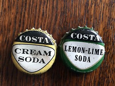 2 Different Costa  Soda   Bottle   Caps  -  Cork Lined  -  Used