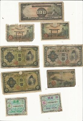 Lot Of 9 Wwii Japanese Military Currency