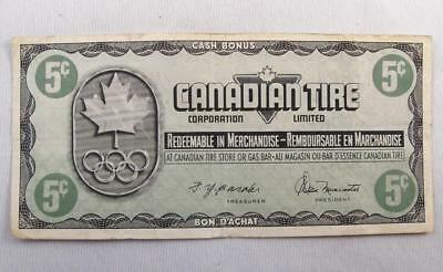 Vintage Canadian Tire 1976 Olympics Money 5 Cents Note  # Kn3120436