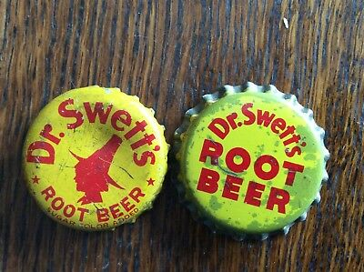 2 Different   Dr. Swett's Root Beer  Soda   Bottle Caps  -  Cork Lined  -  Used