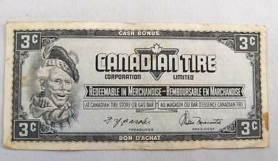 Vintage Canadian Tire Money 3 Cents Note  # An9488963