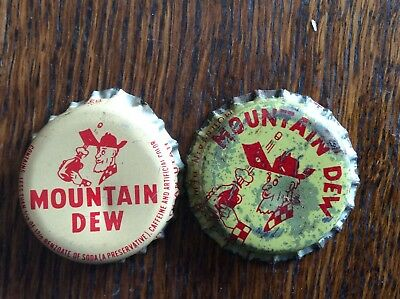 2 Different   Mountain Dew   Soda   Bottle Caps  -  Cork Lined  -  Used