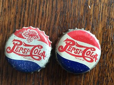 2 Different   Pepsi - Cola  Soda   Bottle Caps  -  Cork Lined  -  Used