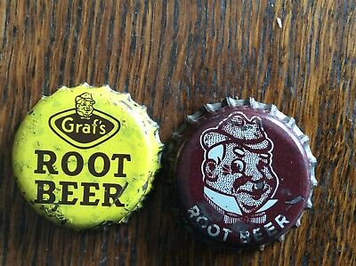 2 Different  Graf's Root Beer  Soda   Bottle Caps  -  Cork Lined  -  Used