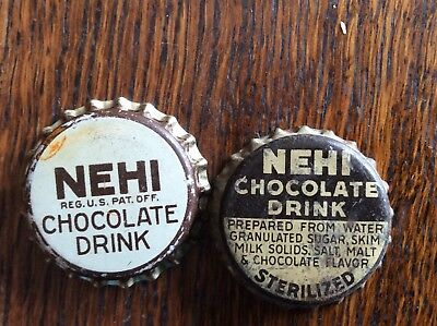 2 Different  Nehi Chocolate  Soda   Bottle Caps  -  Cork Lined  -  Used