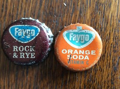 2 Different   Faygo   Soda   Bottle   Caps  -  Cork Lined  -  Used