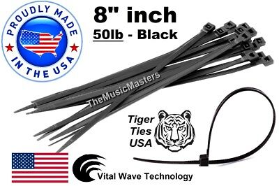 "1000 Black 8"" inch Wire Cable Zip Ties Nylon Tie Wraps 50lb USA Made Tiger Ties"