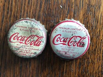 2 Different   Coca - Cola  Virginia   Soda   Bottle Caps  -  Cork Lined  -  Used
