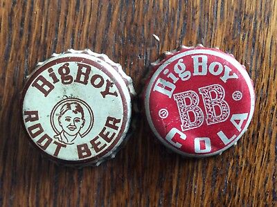 2 Different  Big Boy    Soda   Bottle Caps  -  Cork Lined  -  Used