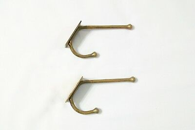 Pair Of Antique / Vintage Brass Hall Tree Or Coat Room Hooks Nice Price