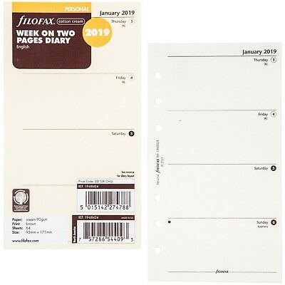 2019 Filofax Personal Size Refill 19-68424, Cotton Cream, Week On Two Pages