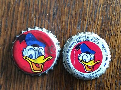 2 Different   Donald Duck   Soda Bottle Caps - Plastic Lined -Used